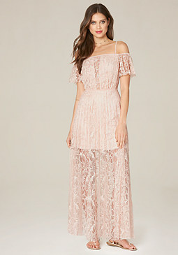 bebe Lyla Pleated Lace Gown