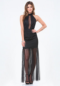 bebe Dotted Mesh T-Strap Gown