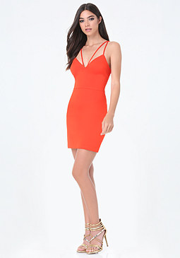 bebe Double Strap Deep V Dress