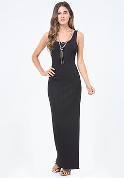 bebe Gigi Ribbed Maxi Dress