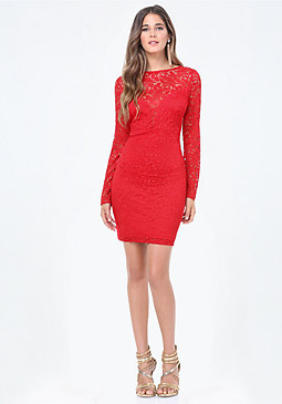 bebe Ellie Lace Back V Dress