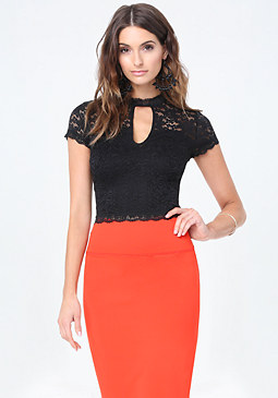 bebe Lace Double Keyhole Top
