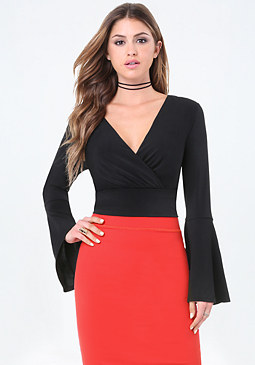 bebe Bell Sleeve Surplice Top