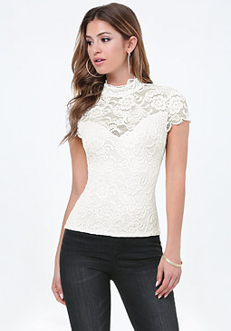 bebe Lace Mock Neck Top