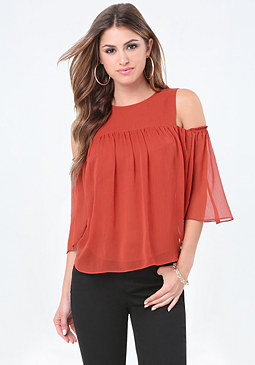 bebe Chiffon Cold Shoulder Top