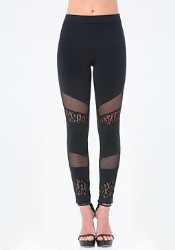bebe Mix Transparency Leggings