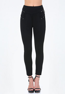 bebe Lace Up Yoke Leggings