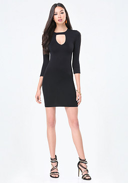 bebe Mindy Lattice Sleeve Dress
