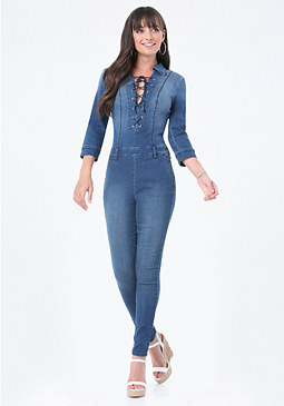 bebe Denim Lace Up Jumpsuit