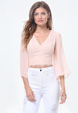 bebe Angel Sleeve Crop Top