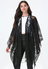 bebe Fringe Floral Lace Cover Up