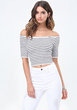 bebe Off Shoulder Sweater Top