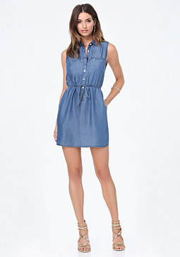bebe Ashley Chambray Shirtdress