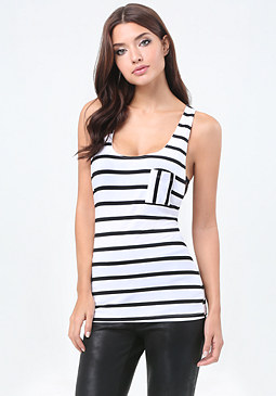 bebe Striped Oversized Tank