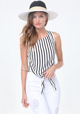 bebe Ashley Striped Tie Top