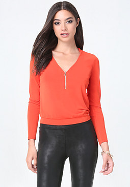 bebe Front Zip V-Neck Top