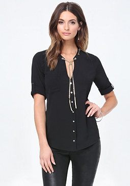 bebe Chain Neck Tie Top
