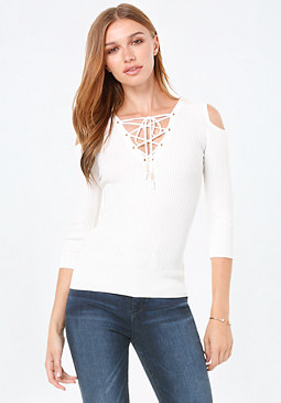 bebe Jolie Lace Up Sweater Top