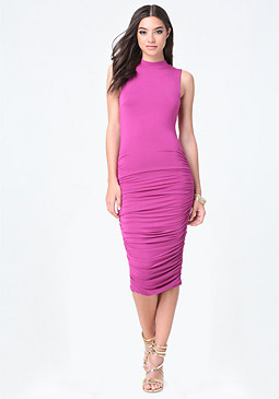 bebe Nellie Shirred Midi Dress