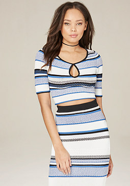 bebe Texture Striped Crop Top