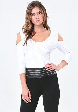 bebe Curve Rib Cold Shoulder Top