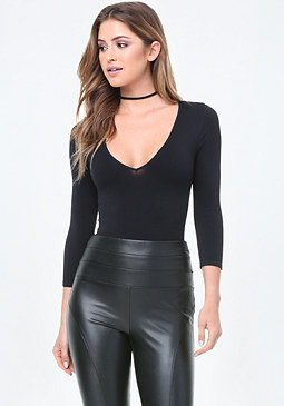 bebe Deep V-Neck Bodysuit