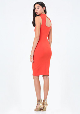bebe Terri Wide Rib Midi Dress
