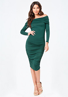 Ruched Off Shoulder Dress