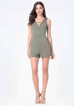 bebe Front Lace Up Romper