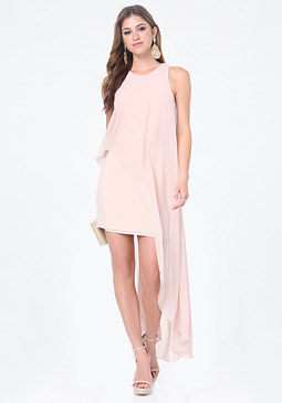 bebe Chiffon Hi-Lo Overlay Dress
