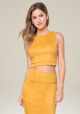 bebe Faux Suede Crop Top