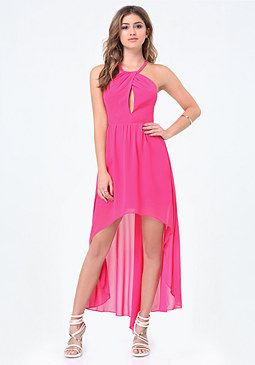 bebe Chiffon Hi-Lo Dress