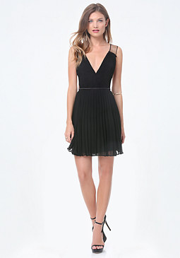 bebe Tulle Inset Pleated Dress