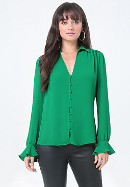 bebe Nikki Button Up Blouse