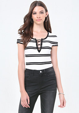 bebe Striped Lace Up Sweater Top