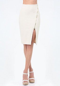 bebe Power Knit Angled Zip Skirt