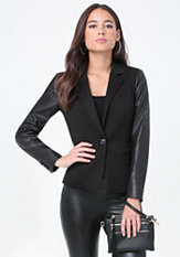 bebe Faux Leather Sleeve Blazer