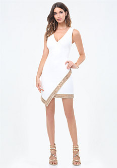 Embellished Wrap Dress