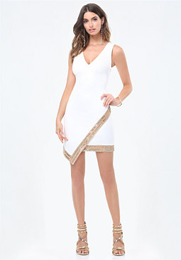bebe Embellished Wrap Dress