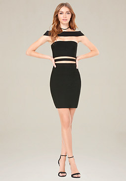 bebe Off Shoulder Cutout Dress