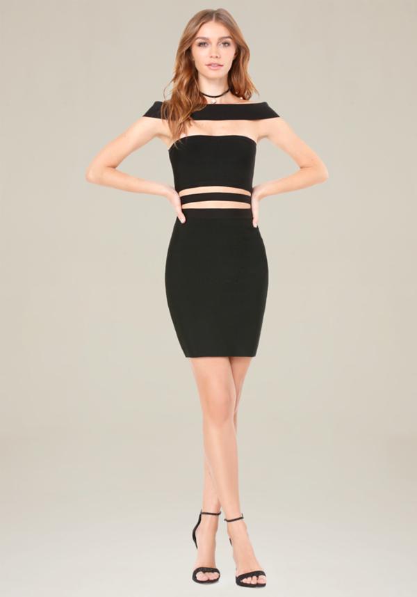 Off Shoulder Cutout Dress at bebe in Sherman Oaks, CA | Tuggl
