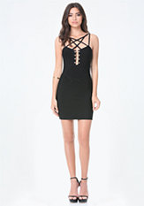 bebe Metal Trim Banded Dress