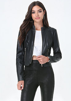 Seamed Faux Leather Jacket