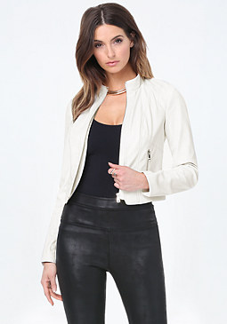 bebe Seamed Faux Leather Jacket