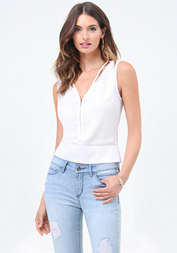 bebe Front Zip Sleeveless Blouse