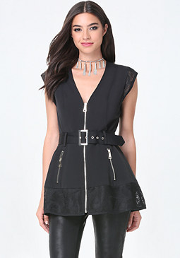 bebe Mesh Inset Trench Coat