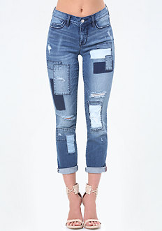 Patch Crop Girlfriend Jeans