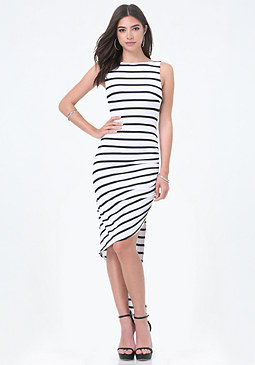 bebe Striped Asymmetric Dress