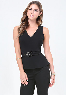 bebe Lace Trim Belted Peplum Top