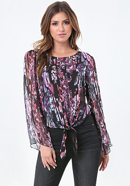 bebe Print Slit Sleeve Tie Top